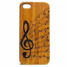 BAMBOO Case made for iPhone SE, 5/5S with Treble Clef & Music Notes Design Art