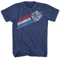 Star Wars Millennium Falcon Stripes Navy Heather Men's T-Shirt New