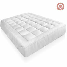 Mattress Topper Pillowtop 1000gsm Duck Feather Down Protector Cover Cotton Queen