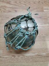"New listing vintage aqua green large hokuyo double ""f"" glass fishing float buoy with netting"