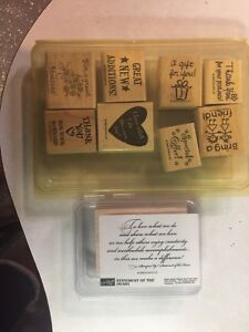 Stampin up! Demonstrator Stamps Lot/2 Sets Statement Heart Hostess Wood Mounted