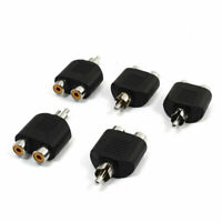5x RCA Male to 2 Female Security Camera Splitter Connector Adapter Black