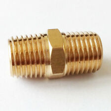 "NPT- BSP Adapter Brass Hex Nipple Fitting 1/4"" BSPT * 1/4"" NPT Male Equal US-UK"