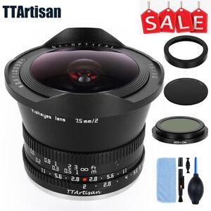 TTArtisan 7.5mm F2.0 Fisheyes MF Lens for Fuji X Canon Nikon Sony M43 Leica L