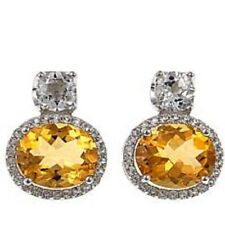 Colleen Lopez Oval Citrine Gemstone and White Topaz Drop Earrings HSN $140