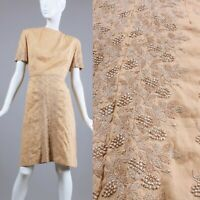 M/L Vintage 60s Tan Embroidered Summer Day Dress Grapevine Short Sleeve Cotton