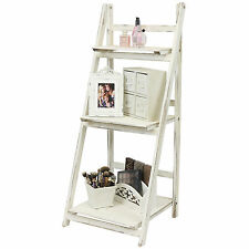 HARTLEYS WHITE WASH 3 TIER FOLDING LADDER STORAGE HOME DISPLAY SHELF BEDROOM