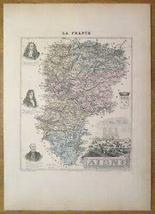 Gravure originale de 1895 - Carte du département de l'Aisne
