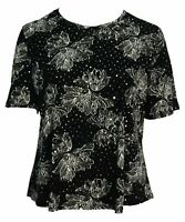 New Women's Black Stretch Silver Sequin Party Top Short Sleeve Plus Size