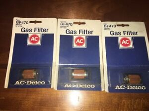 Lot Of 3 NOS ACDelco GF470 Gas Fuel Filter vintage package