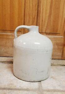 Vintage White  Stoneware Moonshine Jug Crock 11 inches high x 9 wide