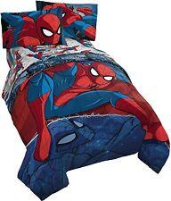 Marvel Comic Spider-Man Spiderman Boys Full Comforter & Sheets - NEW (5 Piece)