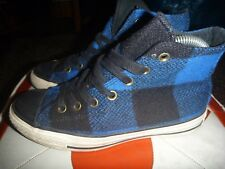 CONVERSE SIZE UK 5 CHECKERED BLUE BLACK TRAINERS PLIMSOLLS PLAID TARTAN