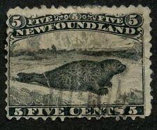 Newfoundland 1868 Harp Seal 5c Black Major Re-entry POS 14 #26ii used