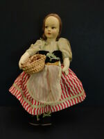 "All Original LENCI or VENUS Felt Doll with Basket 11"" Antique"