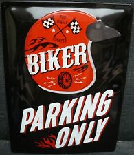 BIKER PARKING ONLY ,STEEL EMBOSSED SIGN,METAL SIGNS/PLAQUE,MOTORCYCLE