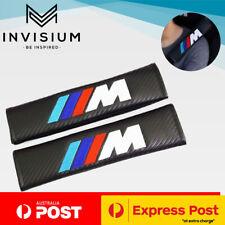 BMW M Sport Power Emblem Logo Carbon Fibre Car Seat Belt Shoulder Cover Pads x2