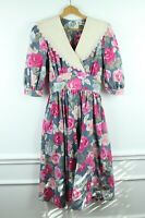 Vintage 90s Cotton Floral Puff Sleeve Collar Tea Dress Romantic Prairie 7 Small