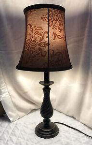 Vintage Table/Desk Lamp w/ Brown shade/ LED, color brown/Metallic design. LED!
