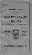 Manual for Singer Sewing Machine No. 115