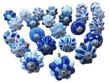 25pomelli in ceramica, blu e bianchi, per manopole cassetti, porte, (o0t)