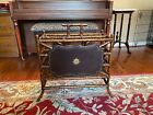 ANTIQUE VINTAGE BAMBOO AND TOOLED LEATHER MAGAZINE RACK STAND - MAITLAND SMITH