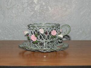PartyLite Teacup Tea Light Retired Enchanted Rose Candle Holder