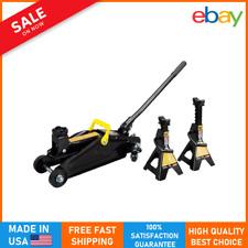 New Listing2 Ton Professional Hydraulic Floor Jack Car 2 Heavy Duty Jack Stand Portable New