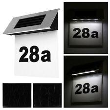 Solar Powered 4 LED Illuminated Doorplate House Number Light Wall Plaque Decor