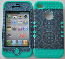 Hybrid Hard Cover Case - Apple iPhone 4 4S Blue Circular on Blue/Green Teal Skin