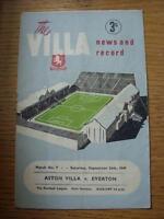 24/09/1949 Aston Villa v Everton  (faint creasing, folding & rusty staple remove