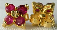 14K GOLD .60 CARAT RUBY DIAMOND FLOWER CLUSTER EARRINGS