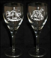 BORZOI / RUSSIAN WOLFHOUND GIFT - Boxed  PAIR WINE GLASS *DOG GIFT*