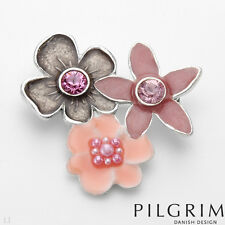 PILGRIM Skanderborg Flower Brooch with Crystals and pearls Pinks