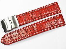 Uhrenarmband Braun. Echtlederband.22 mm.Weiße Naht Sicherheitsfaltschließe