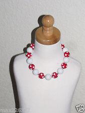 New Acrylic Chunky Beads Bubblegum Gumball Jewlery Necklace red Minnie