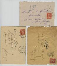 FRANCE cover  3 lettres 10 c semeuse rouge obl dont retour envoyeur