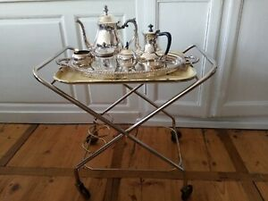 Superbe Table desserte roulante 70's vintage pliable, Laiton, plateau amovible