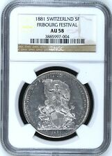 Swiss 1881 Silver Shooting Taler 5 Francs Fribourg Switzerland R-403a NGC AU58