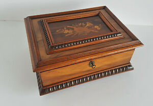 Jewellery Box Sewing Box Walnut Elaborate Inlaid Um 1880