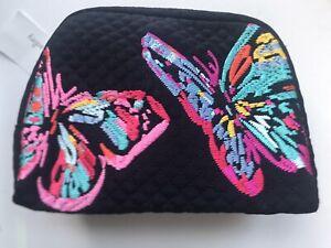 NWT Vera Bradley Iconic Medium Cosmetic Butterflies, Microfiber, Classic Navy