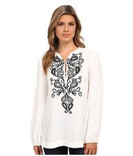 New Nanette Lepore White Blouse Peasant Embroidery Festival Boho $298 Size M