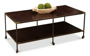 """48"""" W Coffee Table on Casters Solid Iron Frame Brown Leather Brass Detailing"""