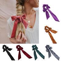 Women Ribbon Bow Hair Scrunchie Girl Elastic Velvet Hair Band Rope Ties Ponytail