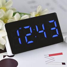 Dual USB LCD Digital LED Clock Snooze Mirror Alarm Clock Time Night Mode Large