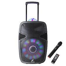 "Portable Music System DJ Speaker 15"" 800w Bluetooth Mounted Light & Microphone"