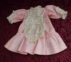 Antique/Vintage Pink/Cream Fancy Doll Dress Nice