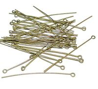 M125 Antiqued Gold Brass Plated 2-Inch Straight Eyepin Jewelry Component 36pc