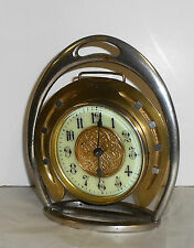 ANTIQUE BRITISH UNITED CLOCK BIRMINGHAM HORSESHOE BRASS WORKING ENGLAND HORSE
