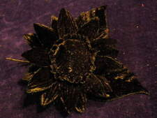 "Millinery Flower 3 3/4"" All Black Velvet  for Hat Wedding or Hair Y240"